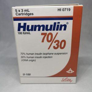HUMULIN 7030 100IU 5 CARTS scaled